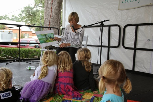 Whitney Stewart reads from her picture book, A CATFISH TALE at the New Orleans children's book festival.